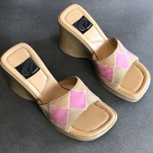 Vintage Y2K patchwork wooden platform sandals